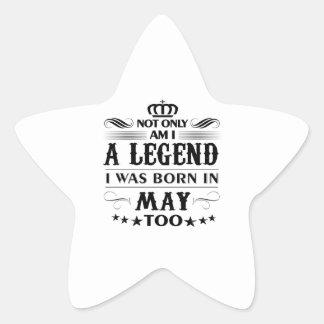 Adesivo Estrela Camiseta das legendas do mês de maio