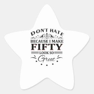 Adesivo Estrela Camiseta das pessoas de 50 anos