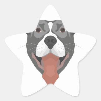 Adesivo Estrela Cão Pitbull de sorriso da ilustração