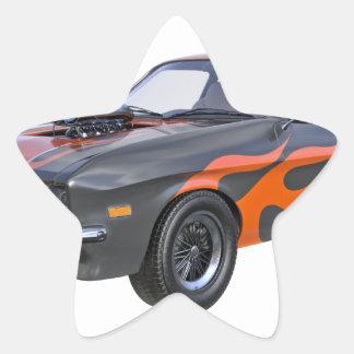 Adesivo Estrela carro do músculo dos anos 70 com chama alaranjada