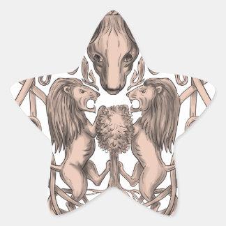 Adesivo Estrela Céltico Knotwo da brasão da árvore do leão dos