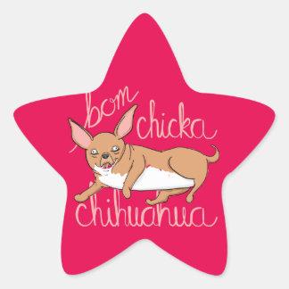 Adesivo Estrela Chalaça engraçada do cão da chihuahua de Bom