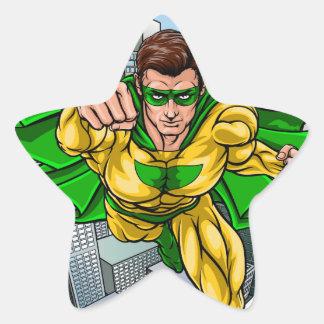 Adesivo Estrela Cidade do super-herói do vôo da banda desenhada