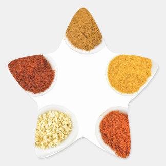 Adesivo Estrela Cinco especiarias de tempero em colheres da