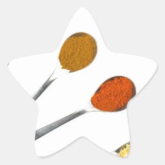 Adesivo Estrela Cinco especiarias de tempero em colheres do metal