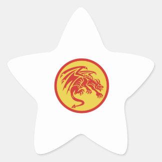 Adesivo Estrela Círculo de agachamento da gárgula do dragão retro