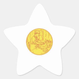 Adesivo Estrela Círculo tradicional Drawin do queijo do queijeiro