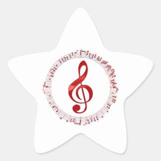 Adesivo Estrela Clef de triplo vermelho em notas da música