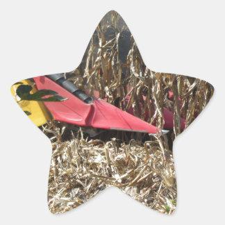 Adesivo Estrela Colheita do milho da colheita mecanizada no campo