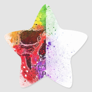 Adesivo Estrela Colorful Skull - Caveira Colorida