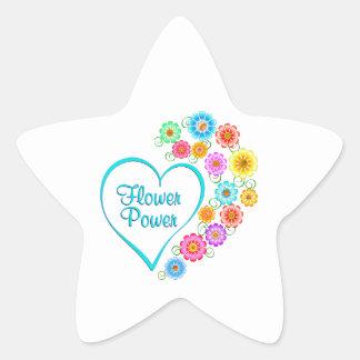 Adesivo Estrela Coração de flower power