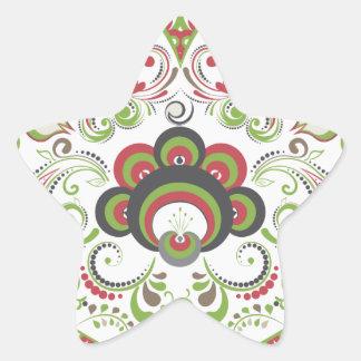 Adesivo Estrela Coração floral colorido