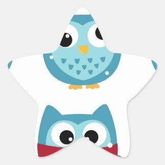 Adesivo Estrela Corujas maravilhosas azuis no branco