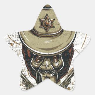 Adesivo Estrela crânio do vaqueiro do macaco com armas gêmeas