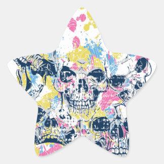 Adesivo Estrela crânios coloridos do vintage