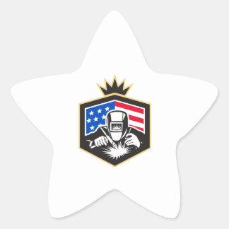Adesivo Estrela Crista da bandeira dos EUA da soldadura de arco do