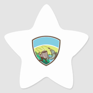 Adesivo Estrela Crista Salmon da caneca do pescador da mosca retro