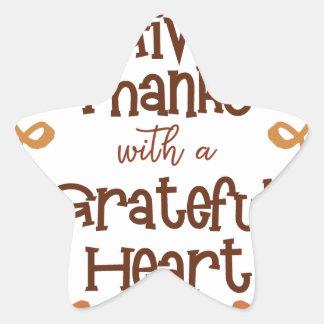 Adesivo Estrela Dê obrigados com um coração grato