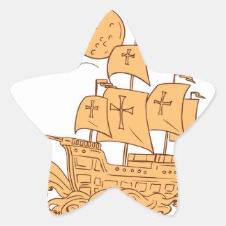 Adesivo Estrela Desenho da lua do navio de navigação de Caravel