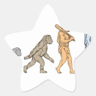 Adesivo Estrela Desenho de passeio da evolução humana