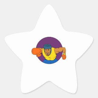 Adesivo Estrela Desenho de perfuração do círculo do pugilista
