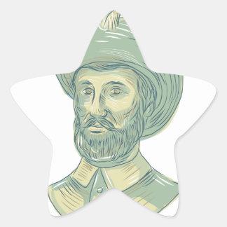 Adesivo Estrela Desenho do busto de Juan Sebastian Elcano