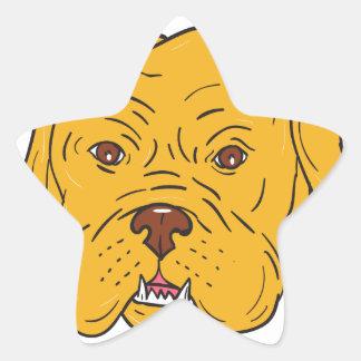 Adesivo Estrela Desenhos animados da cabeça de cão do Bordéus
