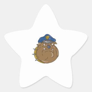 Adesivo Estrela Desenhos animados da cabeça do polícia do buldogue