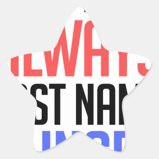 Adesivo Estrela design engraçado, do nome sobrenome sempre com