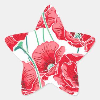 Adesivo Estrela Do campo vermelho da papoila da relembrança teste