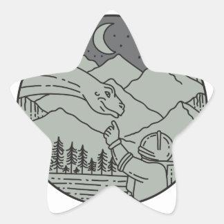 Adesivo Estrela Do círculo tocante do Brontosaurus do astronauta