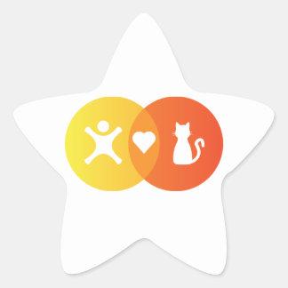 Adesivo Estrela Do coração dos gatos pessoas do diagrama de Venn