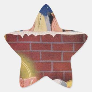 Adesivo Estrela Do Natal polonês de Wesołyeh Świąt do vintage arte