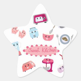 Adesivo Estrela Eletricidade cor-de-rosa doce da cozinha e ícone