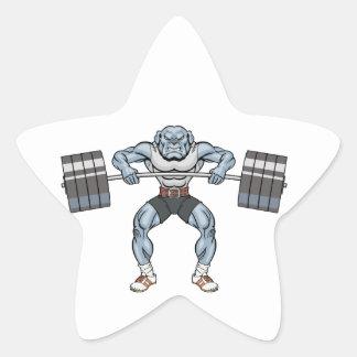 Adesivo Estrela elevador de peso do buldogue