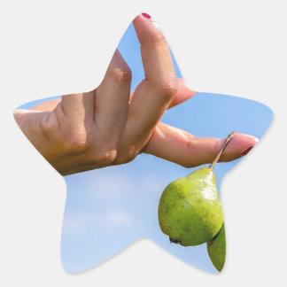 Adesivo Estrela Entregue guardarar duas peras verdes de suspensão
