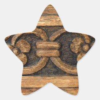 Adesivo Estrela escultura de madeira do painel