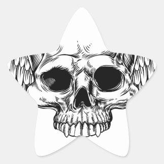 Adesivo Estrela Estilo retro voado do Woodcut do vintage do crânio