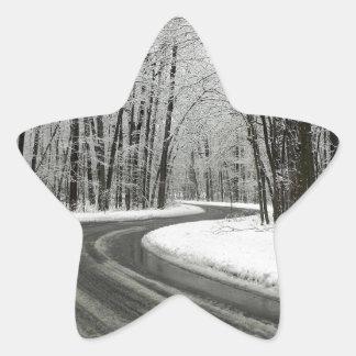 Adesivo Estrela Estrada de enrolamento curvada neve