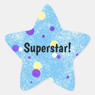 Adesivo Estrela Estrela mundial! Pontos amarelos e roxos no azul