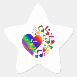 Adesivo Estrela Eu amo a música 60s