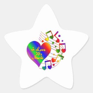 Adesivo Estrela Eu amo a música 70s