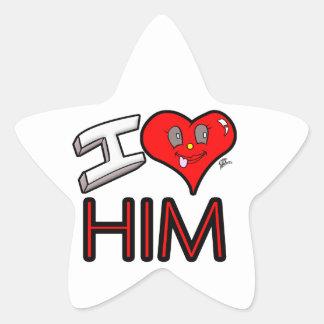 Adesivo Estrela Eu amo-o com coração