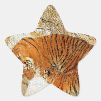 Adesivo Estrela Família em um blizzard - PaintingZ do tigre