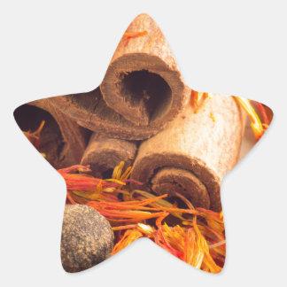 Adesivo Estrela Fim-acima das especiarias e das ervas da cozinha