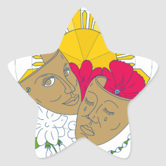 Adesivo Estrela Fluxo filipino de Sampaguita do hibiscus de Sun da