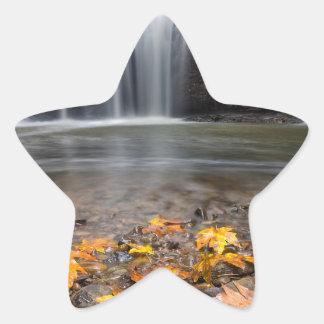 Adesivo Estrela Folhas de bordo da queda na cachoeira escondida