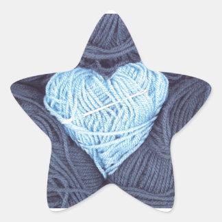 Adesivo Estrela Fotografia bonita do coração azul de lãs