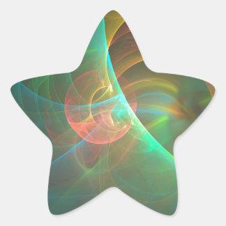 Adesivo Estrela Fractal abstrato colorido