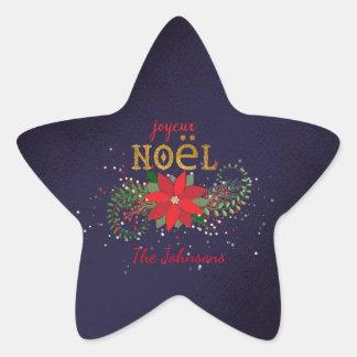 Adesivo Estrela Francês do marinho da estrela de Joyeux Noel do